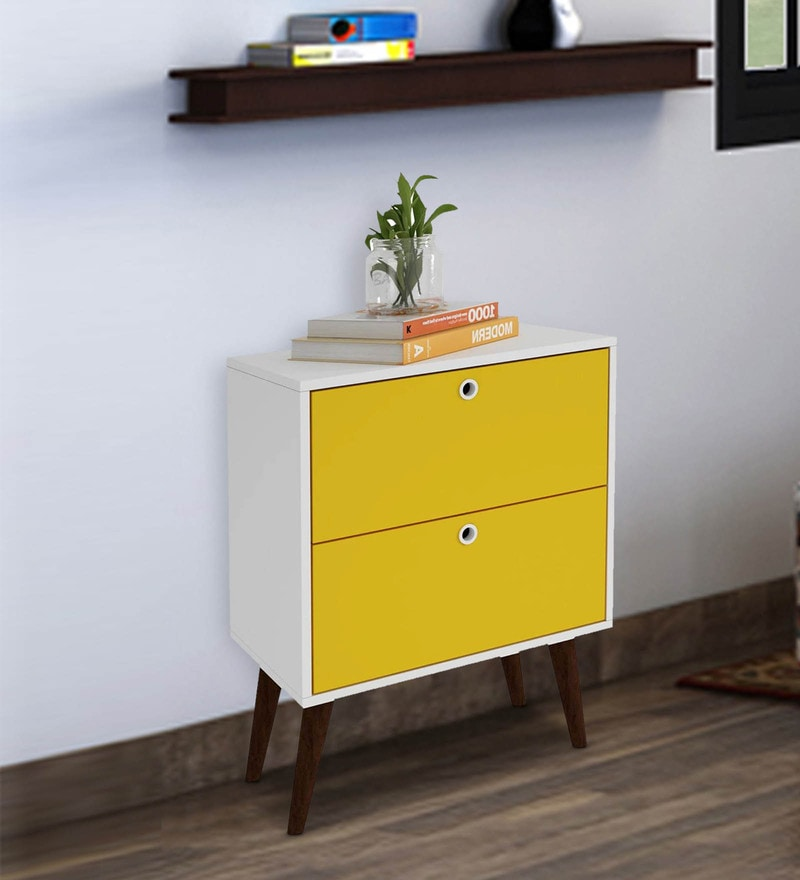 Hisa  Chest of Two Drawers  in White & Yellow Finish by Mintwud