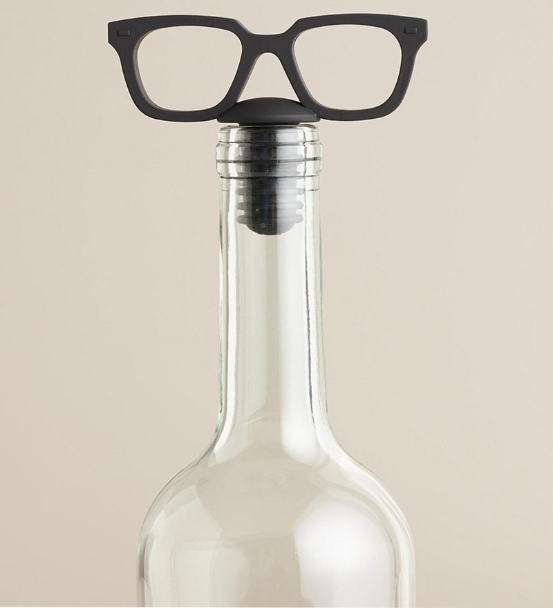Hitplay Black Eye Glasses Wine Stopper - Set of 2