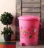 Hindz Plast Plastic Printed Pink Pedal Bin