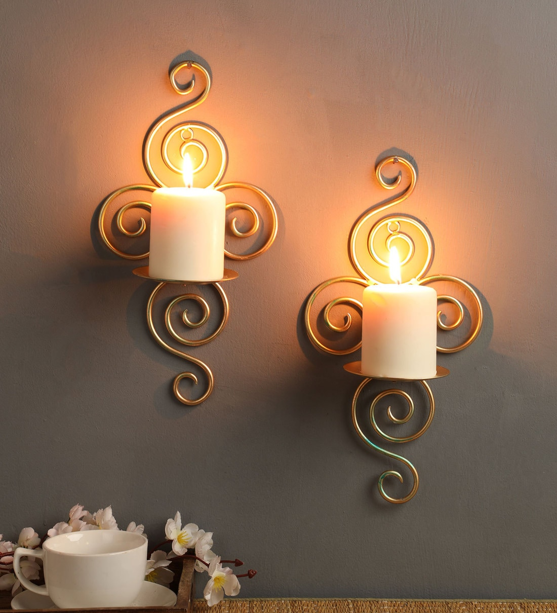 Buy Gold Metal Wall Candle Holder Set Of 2 By Hosley Online Wall Candle Holder Lamps Lighting Lamps Lighting Pepperfry Product