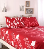 Buy Red Cotton Queen Size Bed Sheet Set of 3 by Home Ecstasy