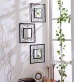 Black Iron & Glass Square Decorative Wall Mirrors - Set of 3