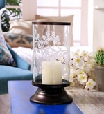 Bronze Iron & Glass Decorative Etched Hurricane Pillar Candle Holder