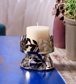 Silver Mild Steel Decorative Candle Holder