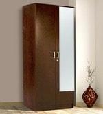 Hotaka Two Door Wardrobe with Mirror in Walnut Finish