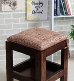 Brown Cotton 16 x 16 Inch The Chaotic Triangles Chair Pad
