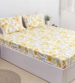 Yellow 100% Cotton Double Size Bedsheet - Set of 3
