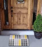 Yellow Cotton 35 x 24 Inch Checkered Door Mat