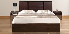 Hoshi Queen Size Bed with Drawer Storage in Wenge Finish