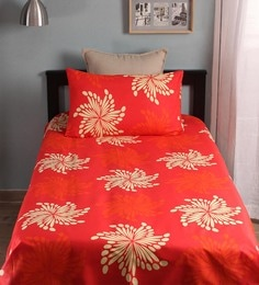 Floral Pattern 104TC Cotton Single Bed Sheet With 1 Pillow Cover ...