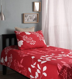 Charming Floral Pattern 104TC Cotton Single Bed Sheet With 1 Pillow Cover ...