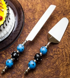Homesake India Black And Blue Stainless Steel 2-piece Cake Server Set