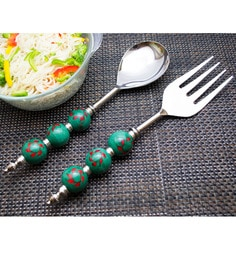 Homesake India Green Stainless Steel 2-piece Noodle Server Set