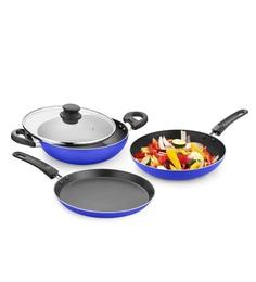 Hotsun Blue Amigo Heavy Non Stick Cookware - Set Of 3