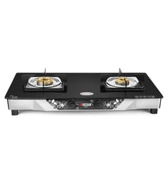 Hotsun Matrix Series 2 Burner Glass Top Gas Stove With Heavy Duty Square Stainless Steel Pan Support (Free: Lighter Worth 295)