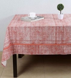 House This Textured Checks Red Cotton Table Cover - 1649348