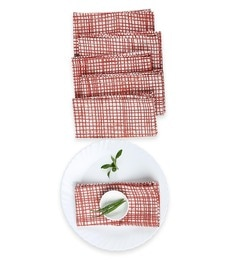 House This The Textured Checks Red Cotton Placemats - Set Of 6