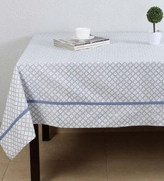 House This The Twisted Leheriya Blue Cotton Table Cover