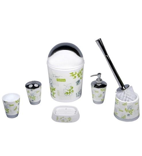 Home Belle Green ABS Plastic Bathroom Accessories - Set of 6