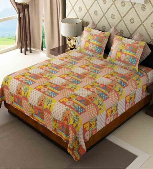 Home Candy Attractive Kids Double Bed Sheet With 2 Pillow Covers