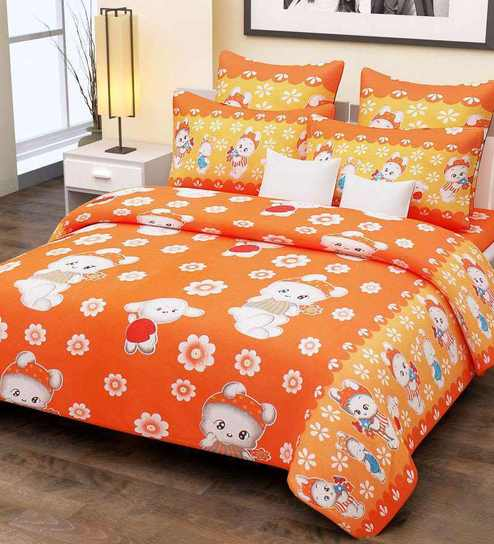Superior Home Candy Cotton Kids Orange Floral Double Bed Sheet With 2 Pillow Covers  Cotton Collection Flat