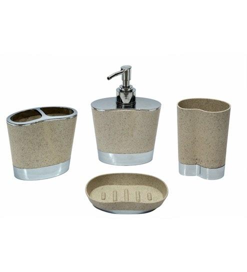 Buy Home Creation Cream Plastic Bathroom Accessories Sets Set Of - Cheap bathroom accessory sets