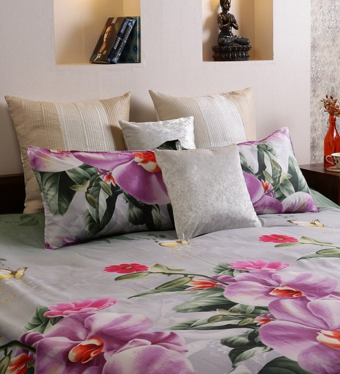 Home Creation Multicolor Polyester Floral 94 X 86 Inch Bed Sheet (with  Pillow Covers)