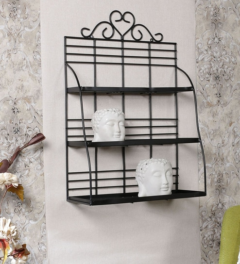 buy metallic decorative wall shelf in black colour by home sparkle rh pepperfry com decorative metal garden shelves decorative metal letters for shelves