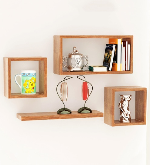Boxy Modular Wall Shelf Set Of 4 In Pine Wood Finish By Home Sparkle