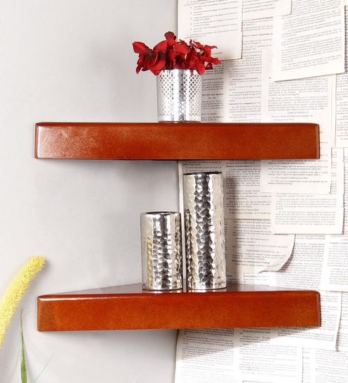 Brown Engineered Wood Corner Shelves   Set Of 2 By Home Sparkle