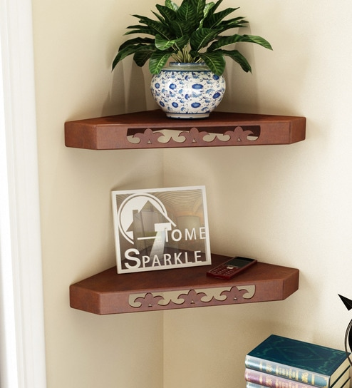 Corner Wall Shelf Set Of 2 In Brown Finish By Home Sparkle