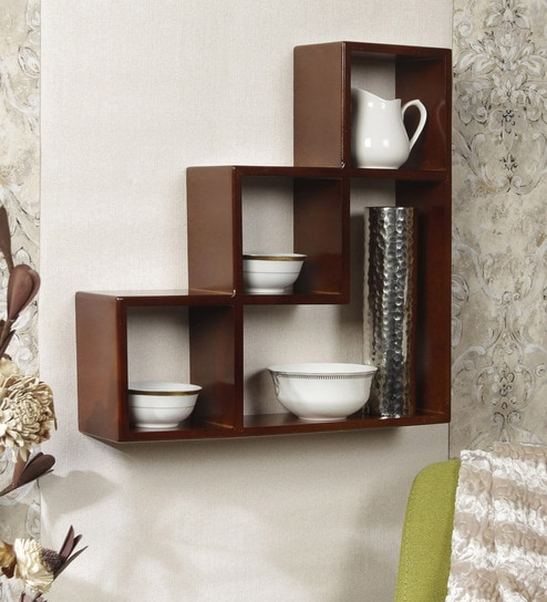 Ladder Wall Shelf In Brown Finish By Home Sparkle