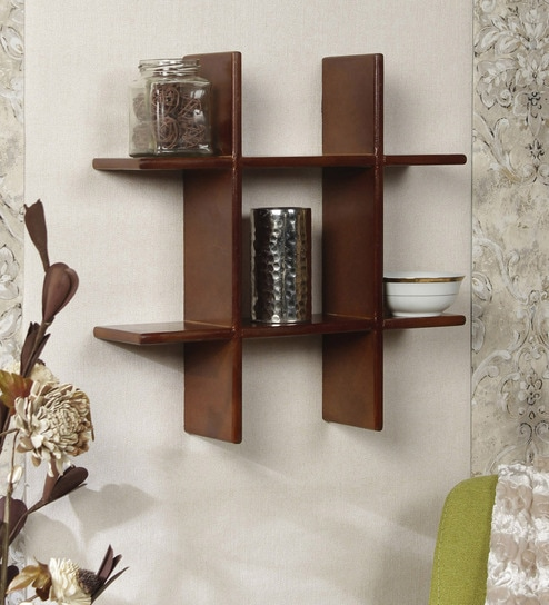 Criss-Cross 2 Tier Wall Shelf in Brown Finish by Home Sparkle