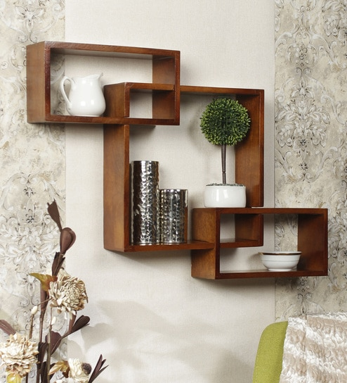 Intersecting Bo Wall Shelves Set Of 3 In Brown Finish By Home Sparkle