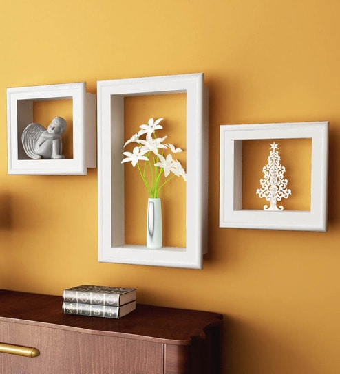 Buy Home Sparkle White Set Of 3 Wall Shelves With Frames Online