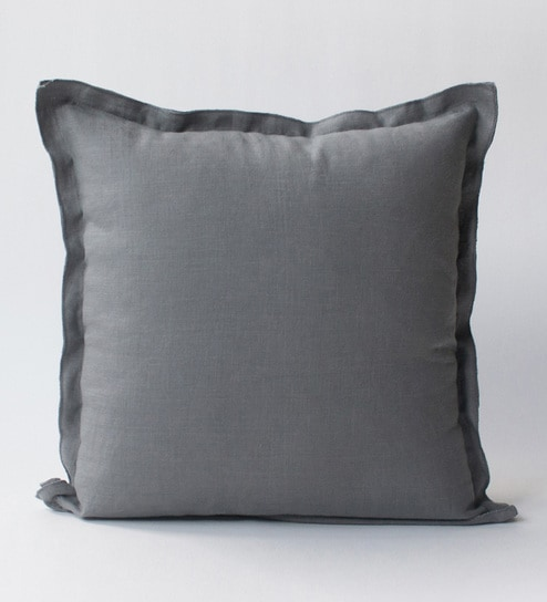 Buy Cloudy Grey Linen 16 X 16 Inch Plain Cushion Covers By Homeight