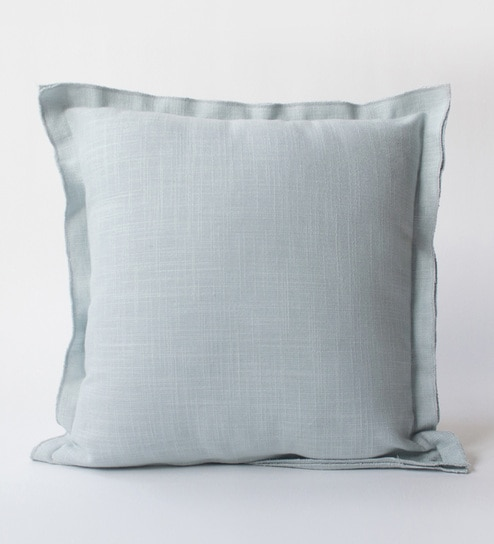 Buy Powder Blue Linen 16 X 16 Inch Plain Cushion Covers By Homeight