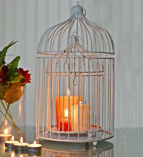 Silver Powder Coated Iron Candle Holder - Set of 2 by Homesake