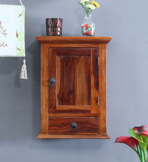 Solid Wood Wall Shelf With Door In Honey Finish By Amberville