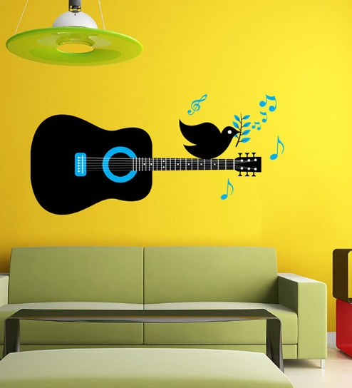 buy hoopoe decor bird singing on the guitar wall decal - black