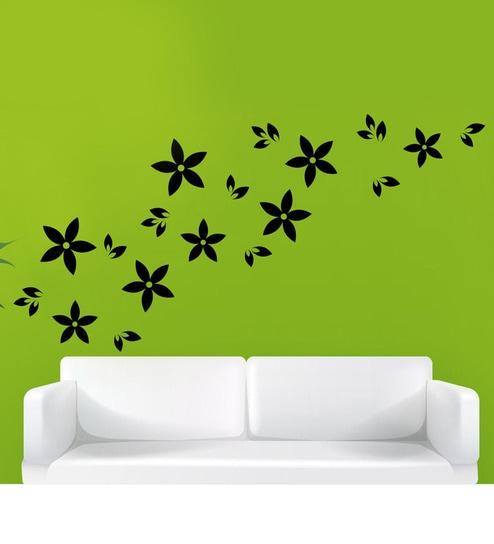 Hoopoe decor flower petals pattern wall art wall sticker and decals black green