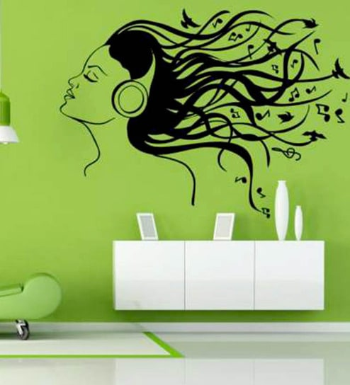 buy hoopoe decor girl listening music vinyl wall sticker & decal