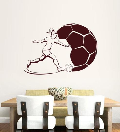 buy hoopoe decor girl playing football vinyl wall sticker online