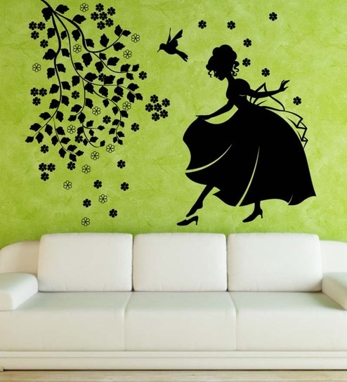 Hoopoe decor girl with bird and flower large wall decal black