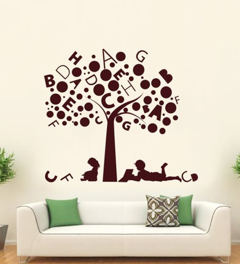 Brown Vinyl Kids Studying Under Alphabet Tree Wall Sticker By Hoopoe Decor Part 66