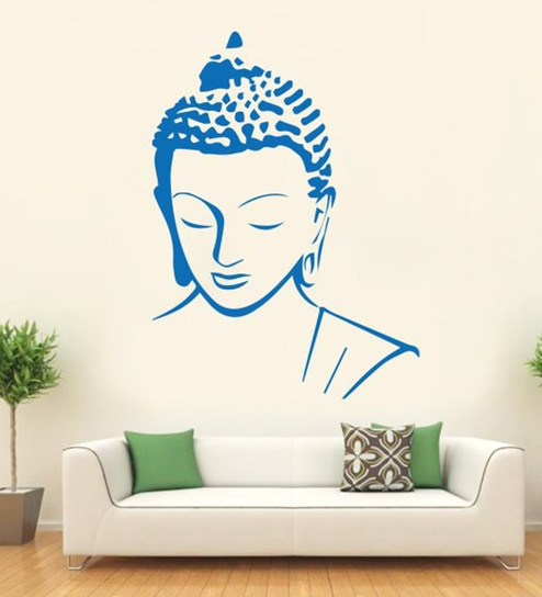 Vinyl Meditating Buddha Calm Face Wall Sticker By Hoopoe Decor