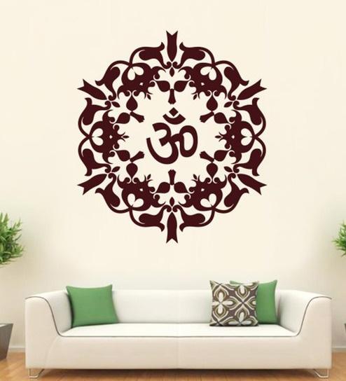 buy hoopoe decor brown vinyl om wall decal online - spiritual - wall