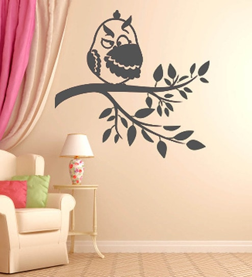 Buy Hoopoe Decor Owl Hiding In His Wing Black Wall Art Online