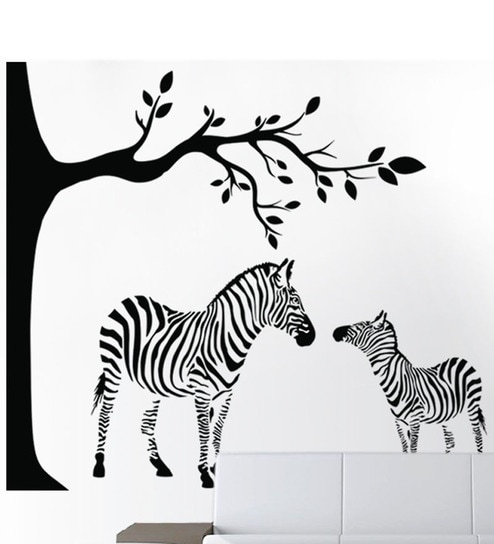 buy hoopoe decor zebra in jungle wall sticker - black online