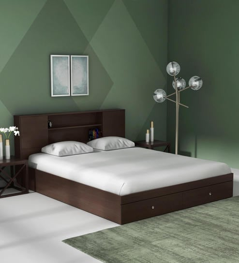 Buy hoshi queen size bed with drawer storage in wenge - Modern queen bed with storage ...